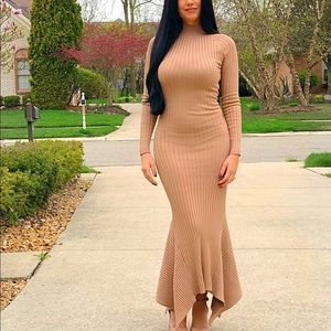 Fitted nude maxi dress